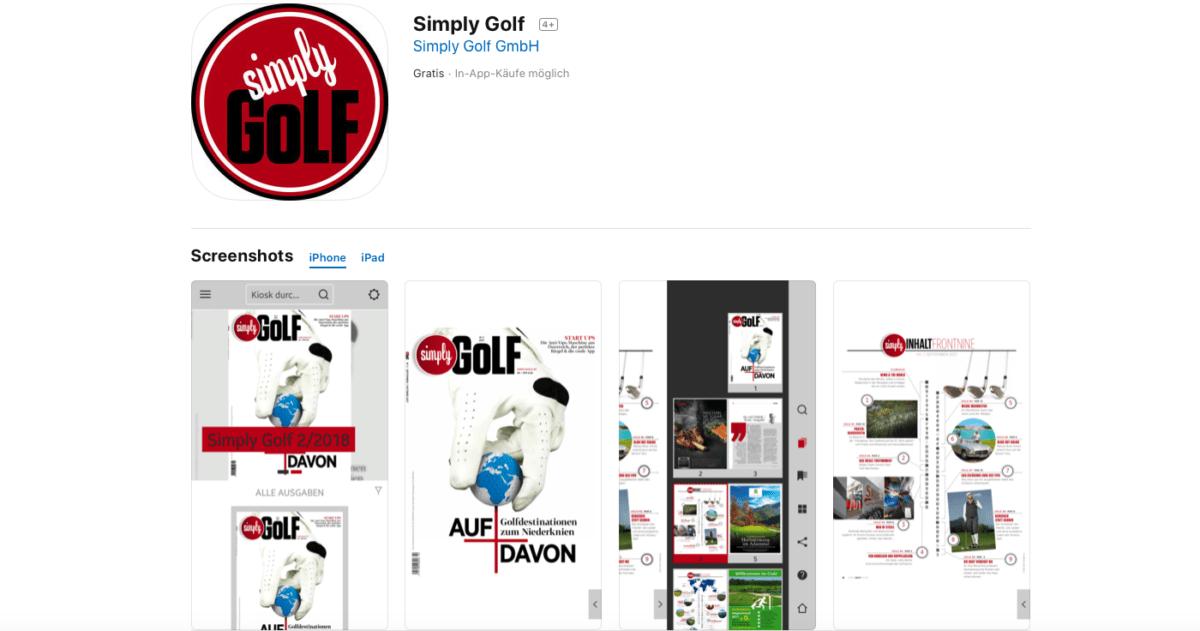 Simply Golf – die Magazin App